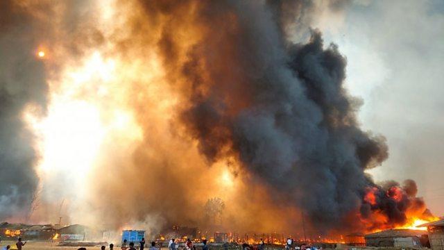 Huge fire sweeps through Rohingya camp in Bangladesh